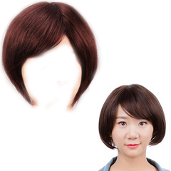 Premium Middle-aged women short straight human wigs hair ladies short wigs bob human hair light brown 25cm