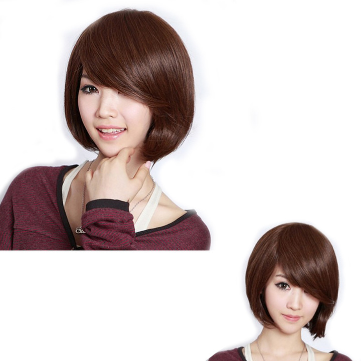 Premium 10 inches bobo hair synthetic wigs hair for women straight wigs for ladies one-sided bangs light brown 10inches(25cm)