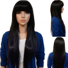 Premium 27 inches Bangs Long Straight Wigs Hair Synthetic Wigs Hair Long Straight Hair for Woman black 27 inches