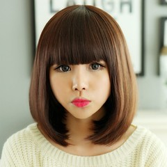Premium 35cm Bangs Short Wigs for Women Synthetic Wigs Short Straight Hair Bobo Hair Wigs of Ladies black 35cm