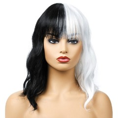 Premium 16 inches personality black/white long curly wigs for women bangs hair synthetic wig black/white 16 inches