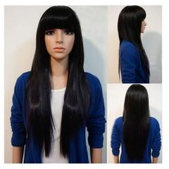 Premium 27 inches Bangs Straight Wigs Hair Synthetic Wigs Women Wigs Bangs hair Ladies Wigs straight light brown 65cm