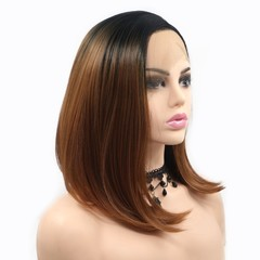 premium lace front bobo wigs synthetic hair for black women straight short wigs hair lady bobo hair black&brown 12 inch