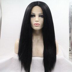 premium long straight lace front wigs synthetic hair for black women synthetic wigs long ladies hair black 24inch