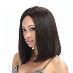 Premium Short Wigs for Women Straight Wigs Short Hair Synthetic Hair Ladies Bobo Wig dark brown 19 inch (50cm)