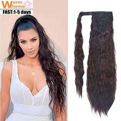 Premium 24' Ponytail Hair Extension Wrap Around for Women Long Wavy Curly Wigs Hair for Black Women dark brown 24 inch(60cm)