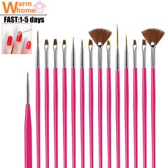15 pcs/set Nail pen set Nail art Tools Design Brush Nail Supplies for Women Beginners 15 Pcs/set Rose Red