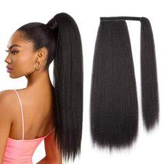 Premium Yaki Ponytail Hair Extension Women Hair Corn Silk Long Curly Hair Black Women natural black 24 inch(60cm)