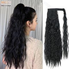 Premium 24' Ponytail Hair Extension Velcro Corn Wave Black Women Hair Long Curly Hair Lady Natural black 24 inch(60cm)