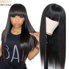 Premium 27 inches Bangs Straight Long Wigs Hair Synthetic Wigs Bangs hair Ladies Wigs straight black 65cm