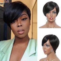 Premium 100% Human Hair Short Wigs for Women Ladies Girl Short Human Wigs Hair Black Women Short Hair natural black 5cm