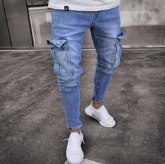 Men's Stretch Jeans Trend Hole Zipper Feet Trousers Light blue XL