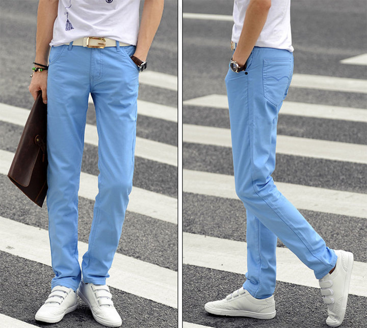 Men's Solid Color Cotton Slim Straight Casual Pants Fashion Business Pants Trousers Light blue 28