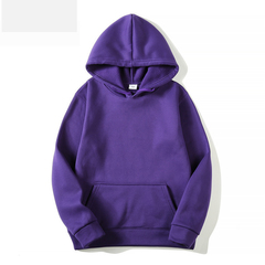 Men's Solid Color Hoodie Fleece Sweatshirt Casual Turtleneck Sweater Purple m
