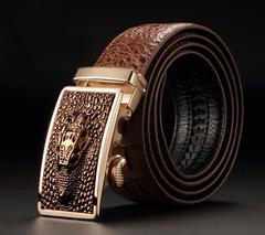 Men's Leather Cowhide Belt Crocodile Fashion Automatic Buckle Belt black 115cm