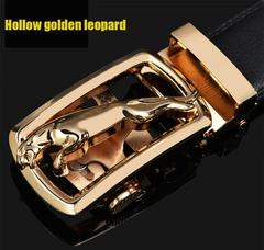 Men's Two-layer Leather Business Automatic Buckle Gold Leopard Silver Leopard Alloy Belt Hollow golden leopard 110cm
