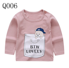 Boy Girl Children's Long Sleeve T-shirt Cotton Round Neck Shoulder Button Cartoon Pictures Q006 73CM one size