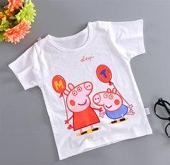 Cotton Children's Short Sleeve 3-8 Years Old Cartoon T-shirt Children's Wear White pig 80cm one size