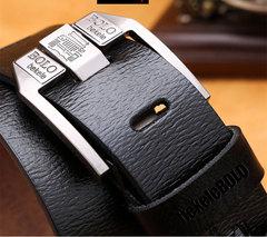 Men Big Flat Genuine Leather Buckle Black Brown Belt Black 120cm