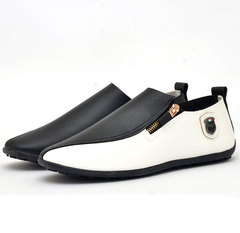 Men Breathable Peas Shoes Low Help Flat Set of Feet Wear Resistant Leisure Lazy Shoes Leather Shoes Black 40