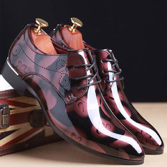 19 New Men Pointed Large Size Business Color Waxing Belt Formal Wear Leather Shoes Red 40 one size