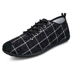 Men Leisure Breathable Peas shoes Fashion Lace Cloth shoes Black 44