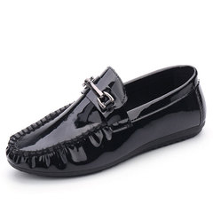 Men Korean Version Leisure Trend Peas Shoes Lazy Flat Heel Bright Leather Breathable Leather Shoes Black 39