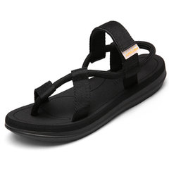 Men Velcro Flip Flop Fashion Pinch Beach Shoes Leisure Sandals Black 42