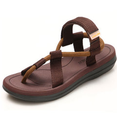Men Velcro Flip Flop Fashion Pinch Beach Shoes Leisure Sandals Brown 43