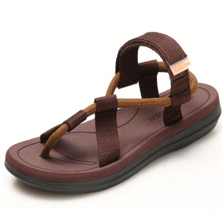 Men Velcro Flip Flop Fashion Pinch Beach Shoes Leisure Sandals Brown 39