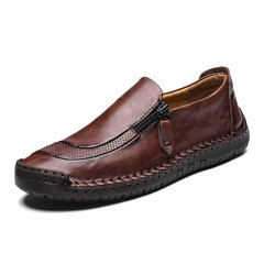 Men Large Size Genuine Leather Manual Leisure Low Help Peas Shoes Leather Shoes Red brown 38