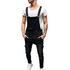 Men Bib Short Bib Pants Jeans Rompers Hole Trousers Black l