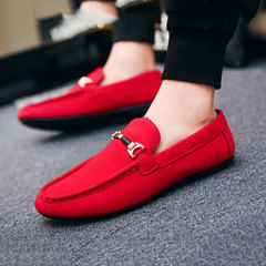 Men Leisure Fashion Suede Peas shoes Low help One foot Cloth shoes Red 40