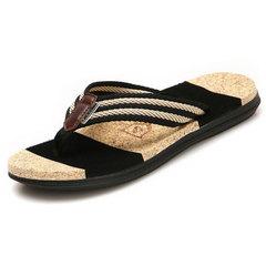 Men Summer Couple models Flip-flops Pinch Beach shoes Black 36