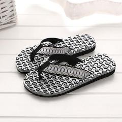Men Summer Leisure Fashion Flip flop Massage sole Couple models Flip flops Sandals Black 36