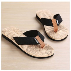 Men Summer Leisure Beach shoes Flip flops Sandals Flip flop Black-1 40