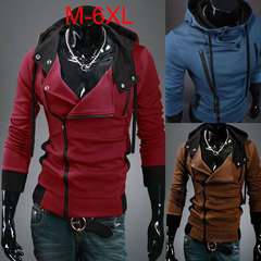 Men Fashion Sweatshirt Hooded sweater Large size Personality zipper jacket Red m