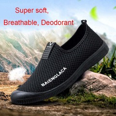 Men Leisure Breathable Peas shoes Fashion Flying web Set of feet Sports shoes Black 39