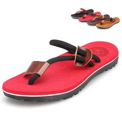 Men Leisure Clip toe Flip flop Sandals One Piece Fashion Non-slip Toe Beach shoes Red 40