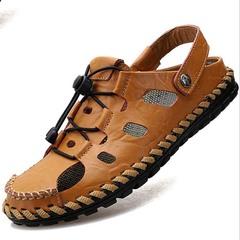 Men Large size Leisure Sandals Fashion Genuine Leather Flip flop Beach shoes Light brown 38