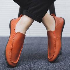 Men Summer Leisure England Small leather shoes Fashion Peas shoes Orange 39
