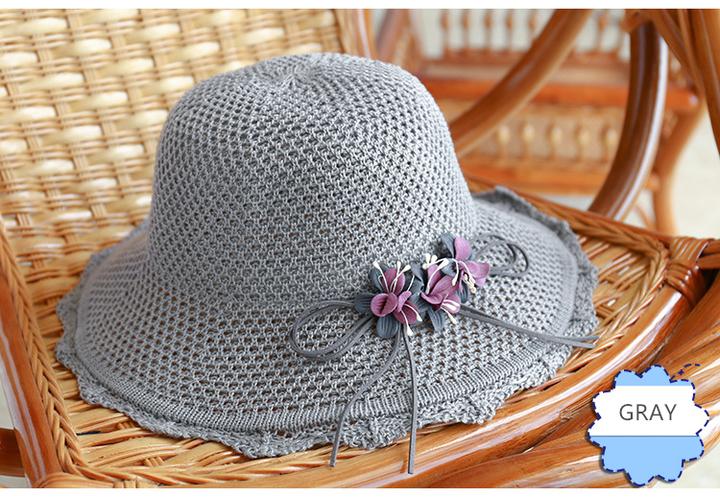 298fe63484312 Cotton Knit Cap Women s Three Flower Visor Foldable Beach Hat GRAY ...