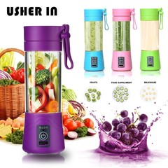 Juicer 4-Color Mixer Slow-Press Mini USB Portable Rechargeable Electric Fruit Extruder Purple
