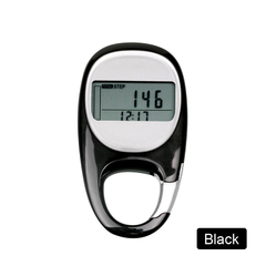 Outdoor Running Step Count Carabiner pedometer With Goal Tracker Distance and Calorie Measurements Black