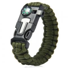 5 in 1 Outdoor Survival Gear Escape Paracord Bracelet Flint / Whistle / Compass / Scraper Army Green 26.85×3.17×1.32