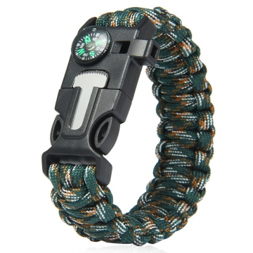 5 in 1 Outdoor Survival Gear Escape Paracord Bracelet Flint / Whistle / Compass / Scraper Jungle Camouflage 26.85×3.17×1.32