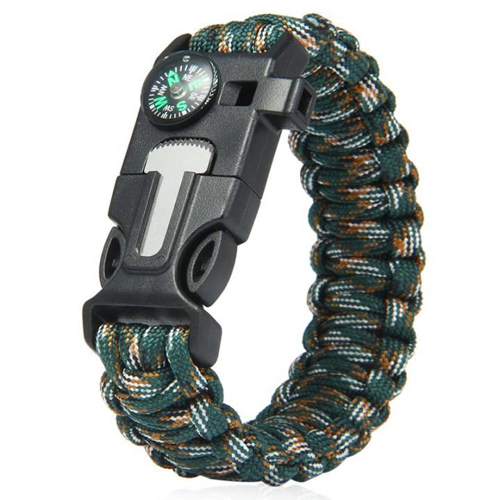 5 in 1 Outdoor Survival Gear Escape Paracord Bracelet Flint / Whistle / Compass / Scraper Jungle Camouflage 26.85×3.17×1.32