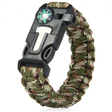 5 in 1 Outdoor Survival Gear Escape Paracord Bracelet Flint / Whistle / Compass / Scraper Camouflage Color 26.85×3.17×1.32