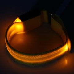 Outdoor Running LED Light Flash Nylon Arm Band Reflective Wristband Wrist Collar Ring Yellow