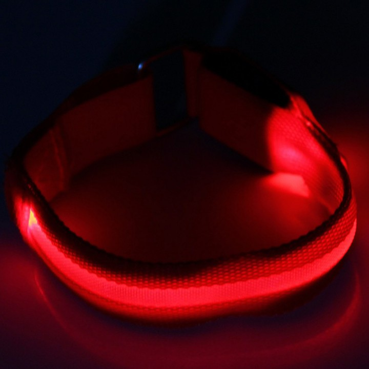 Outdoor Running LED Light Flash Nylon Arm Band Reflective Wristband Wrist Collar Ring Red